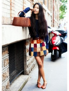 patchwork-suede-skirt